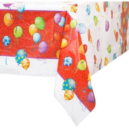 Plastic Balloons Birthday Table Cover, 84 inch x 54 inch, Multicolor