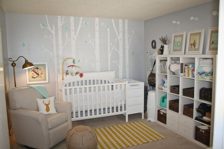I'm feeling inspired!  Same crib, same bookcase and I want the birch tree decals but on light sage green walls.