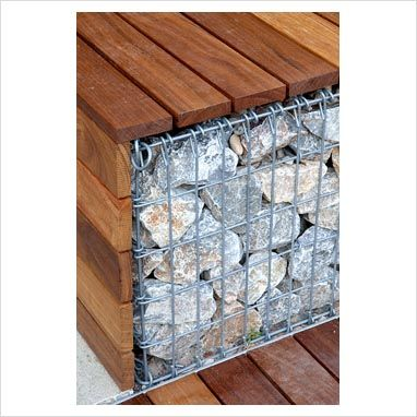 Detail of Gabion and Wood bench