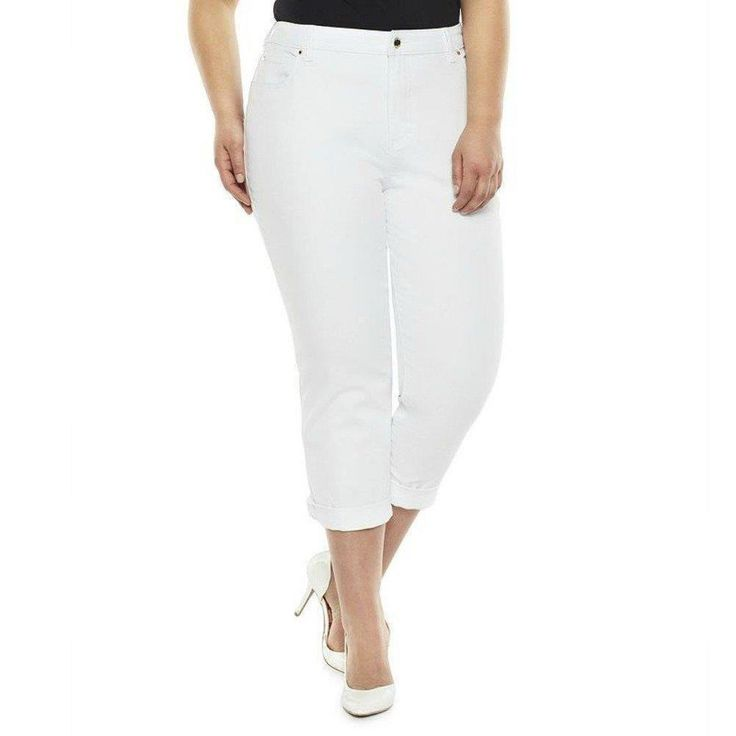 Capri Jeans Plus Size 24W JLO JENNIFER LOPEZ Cuffed White Wash NEW with TAG #JenniferLopez #CapriCropped