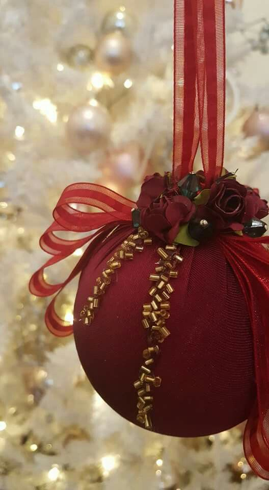 Sead beads .... paper rose... organza ribbon.... oh ...and more ... christmas ornaments 2016