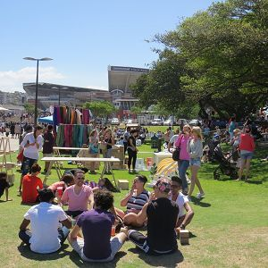 Durban's I ❤ Market is a chilled venue where kiddies can ride their bikes and play ball on the lawns, while parents relax at tables under shady trees or on the grass in the sun.