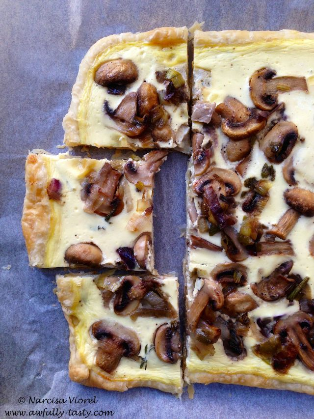 Tarta cu ciuperci si cimbru. Mushrooms and thyme tart.