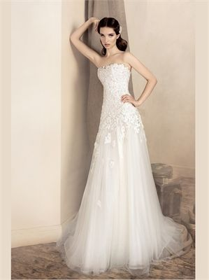 A Line Strapless Lace Tulle 2013 Wedding Dresses