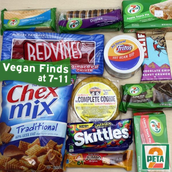 A list of vegan finds at your local 7-11: http://www.peta2.com/lifestyle/vegan-7-11/?utm_campaign=0413%20Vegan%207-11_source=peta2%20Pinterest_medium=Promo