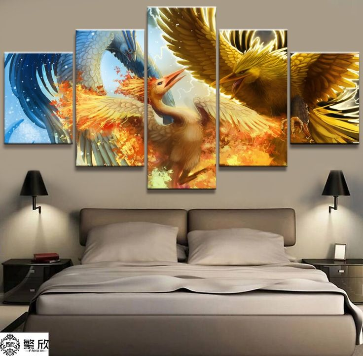 5 Panel Pokemon Zapdos Articuno Moltres Canvas Printed Painting For Living Room Picture Wall Art HD Decor Modern Artwork Poster #Affiliate