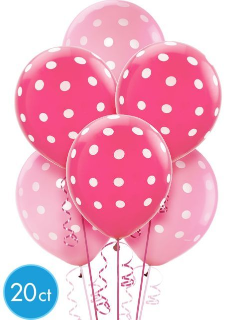 Pink Polka Dot Latex Balloons 20ct