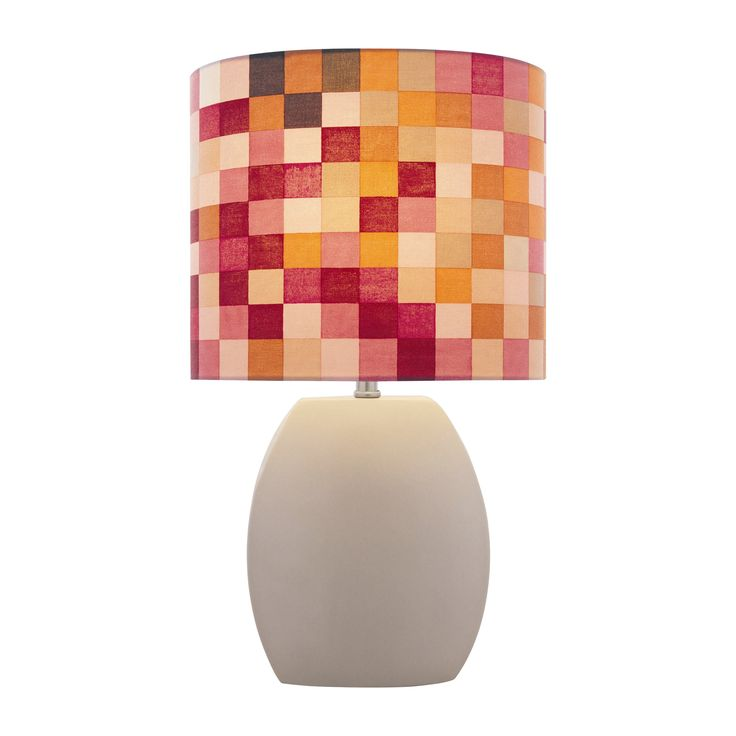 Lite Source Ceramic Checkered 17 H Table Lamp With Drum Shade