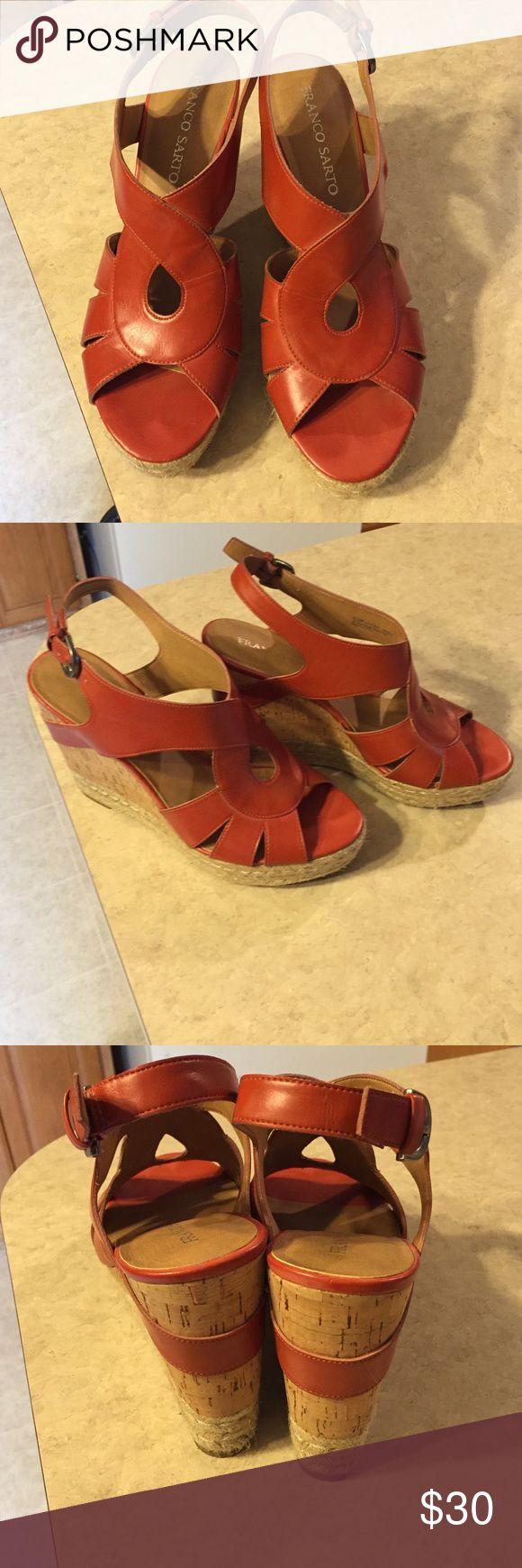 ❗️Sale ❗️Franco Sarto sandals 👠on sale🎉 Franco Sarto Daffodi Sandals in Coral.Worn only a few times. Franco Sarto Shoes Sandals