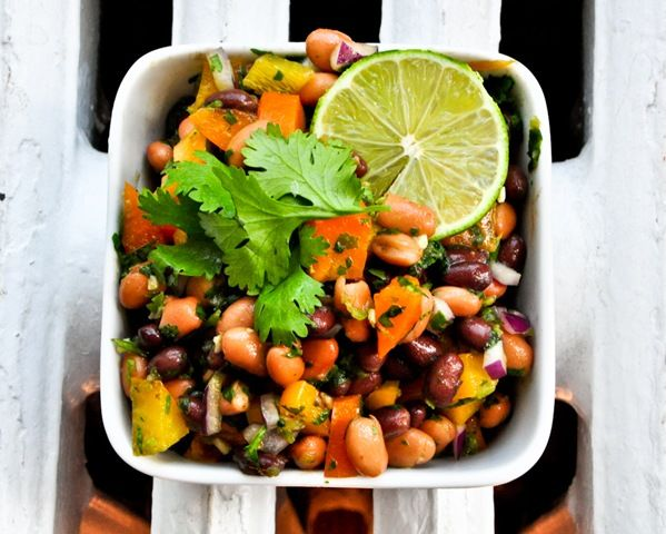 Black and Pinto Bean Salad with Lime and Cilantro Dressing: Healthy Salads, Black Beans, Summer Bbq, Fun Food Recipes, Cilantro Dressing, Beans Dips Potlucks, Pinto Beans Salad, Limes Cilantro Dresses, Bean Salads