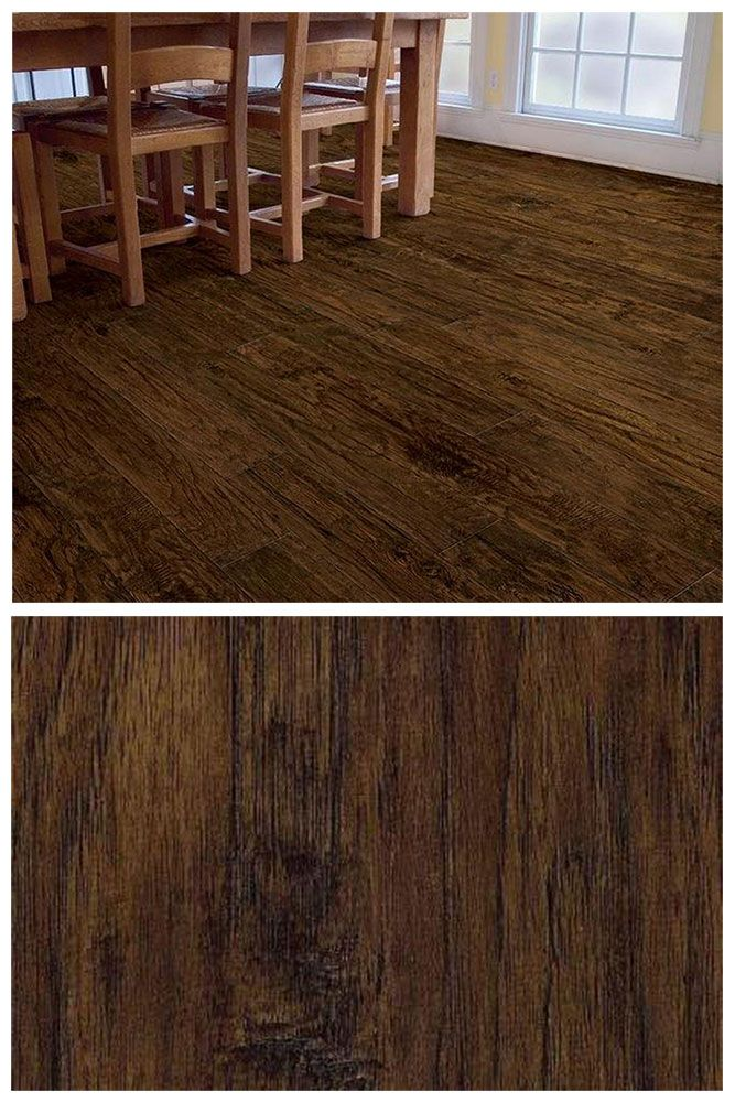 TrafficMASTER Saratoga Hickory's hand scraped texture and warm chocolate brown tones will give your home an inviting character. This laminate flooring is durable, easy to install and very budget-friendly, too. Click through to see the wide selection of laminate flooring at The Home Depot.