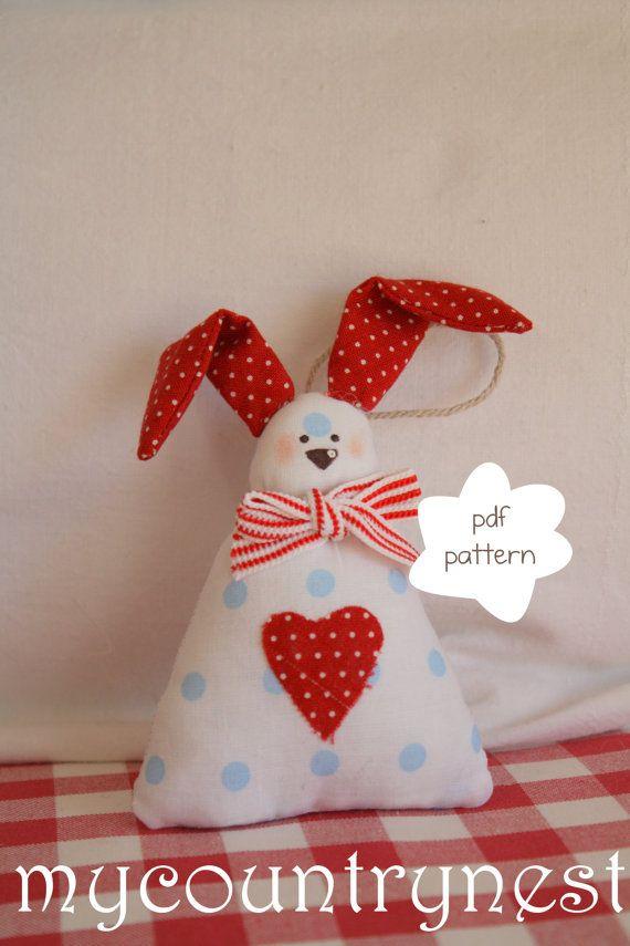 Pattern  rabbit Tippi rabbit softie patternsoftie por Mycountrynest, €6.50