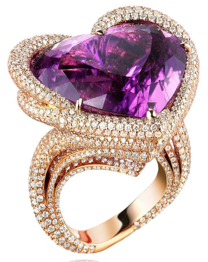 Chopard. High Jewellery ring from the collection Chopard's Temptations in 18ct rose gold entirely set with diamonds (7cts) and adorned with an exceptional 48cts heart shaped purple tourmaline: 48Cts Heart, Collection Chopard, Jewellery Rings, Heart Shape, Heart Rings, Purple Tourmaline, Chopard Temptation, 18Ct Rose, Rose Gold
