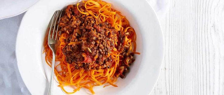 Served with a warming vegan bolognese-style ragù, this gluten-free low calorie main is perfect for the start of the cooler months