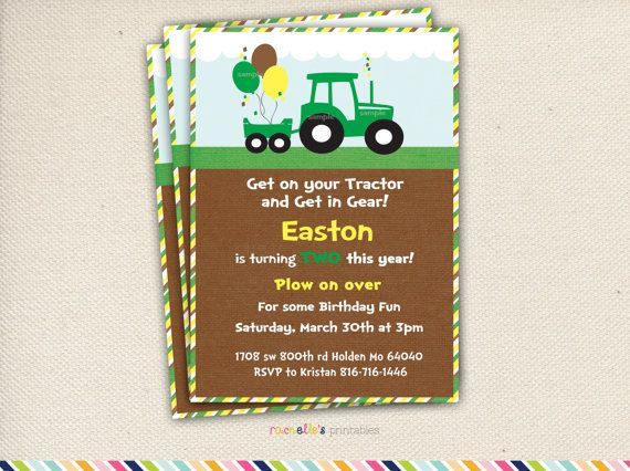 Green Tractor Birthday Party Invite and by RachellesPrintables, $11.00