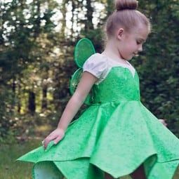 Use pattern to make many different costumes and dress up dresses! This Tinkerbell pattern comes in size 1/2 - 8. It is a peasant style dress that your daughter will be able to get on and off by herself, with elastic neck and sleeves. The front and back bodice and sleeves are all shaped for a great fit. The sash ties are perfect for slender girls and for growth. Short sleeves with sweetheart overlay. Double set-in hanker-chief hem skirt is full of twirl!This pdf pattern is a beautiful, c...