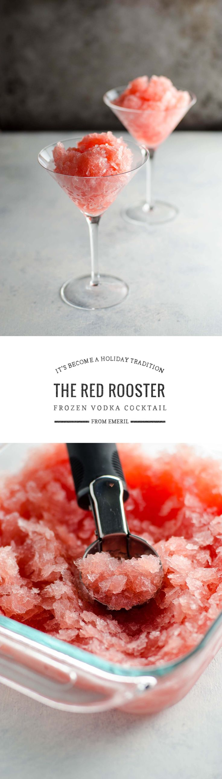 The Red Rooster, a frozen vodka cocktail recipe adapted from Emeril Lagasse, is make-ahead friendly, easy and delicious. Make it a holiday tradition!