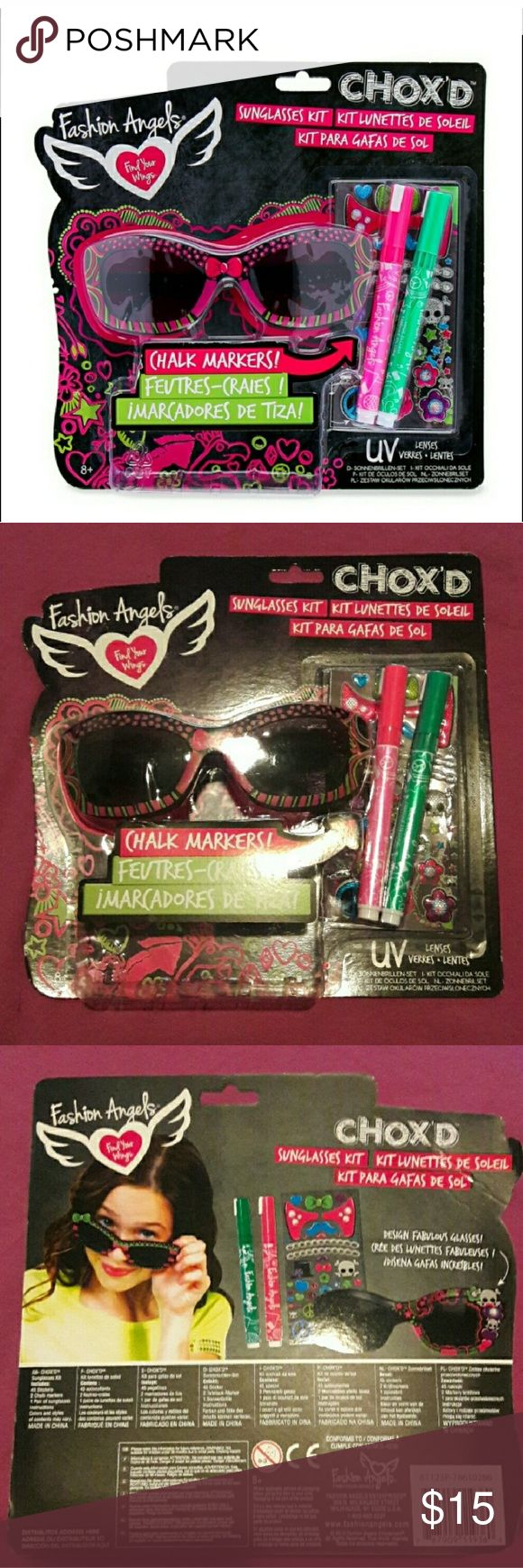 Kids Decorate Your Own Sunglasses Kit, Pink NWT + Surprise freebies with every order! +  NWT Brand new in box, never opened.  Kids can create their own custom designed sunglasses with this creative DIY kit from Fashion Angels. Perfect summer activity. This kit includes: - 1 pair of hot pink UV sunglasses - 2 Chalk markers in light pink & green - 45 glitter stickers  I've added some additional decorations. Plenty for multiple pairs of sunglasses.   * Bundle 3 or more listings and save 15%…