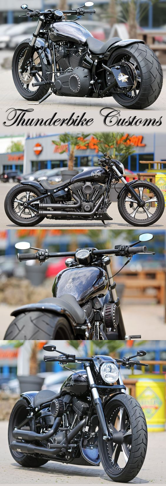 @PunIntendedMag Customized Harley-Davidson Softail Breakout by Thunderbike. http://punintendednews.club For this project we added a long list of our custom parts like the Lowrider wheels, rear-fender Kit, Air-Ride suspension, custom tank, forward controls and much more.: #harleydavidsonbreakoutbobber