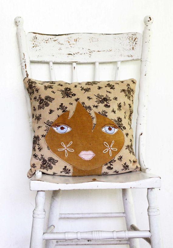 Doll face cushion pillow vintage mod afro girl by Obelia Design, $95.00