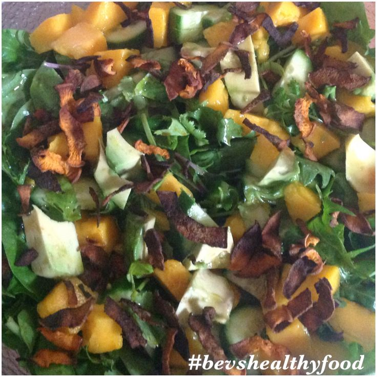 "Day 2 "" Eat Your Greens Challenge"" Mango and Sweet Potato Crisp Salad CLICK IMAGE for the RECIPE! Please REPIN and SHARE with your friends."