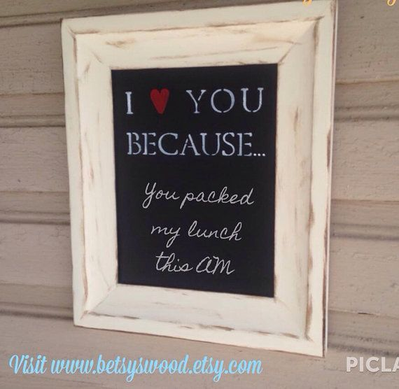 I Love You Because... Chalkboard on Etsy // unique Christmas gift #unique #wife #husband #newlywed #present #gift #wedding #engagement #rustic