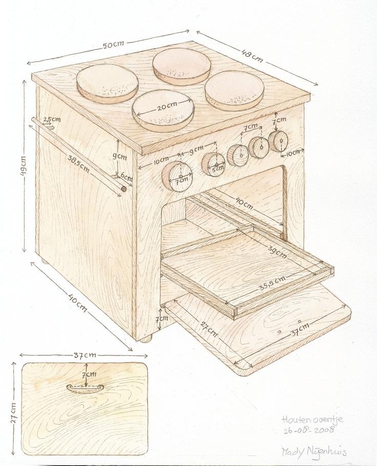 #diy stappenplan en werktekening houten oventje voor kinderen om mee te spelen - how to make a wooden stove #kids