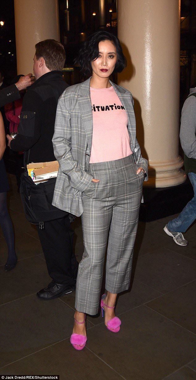 Check her out: Betty Bachz stunned in a grey check suit for the occasion