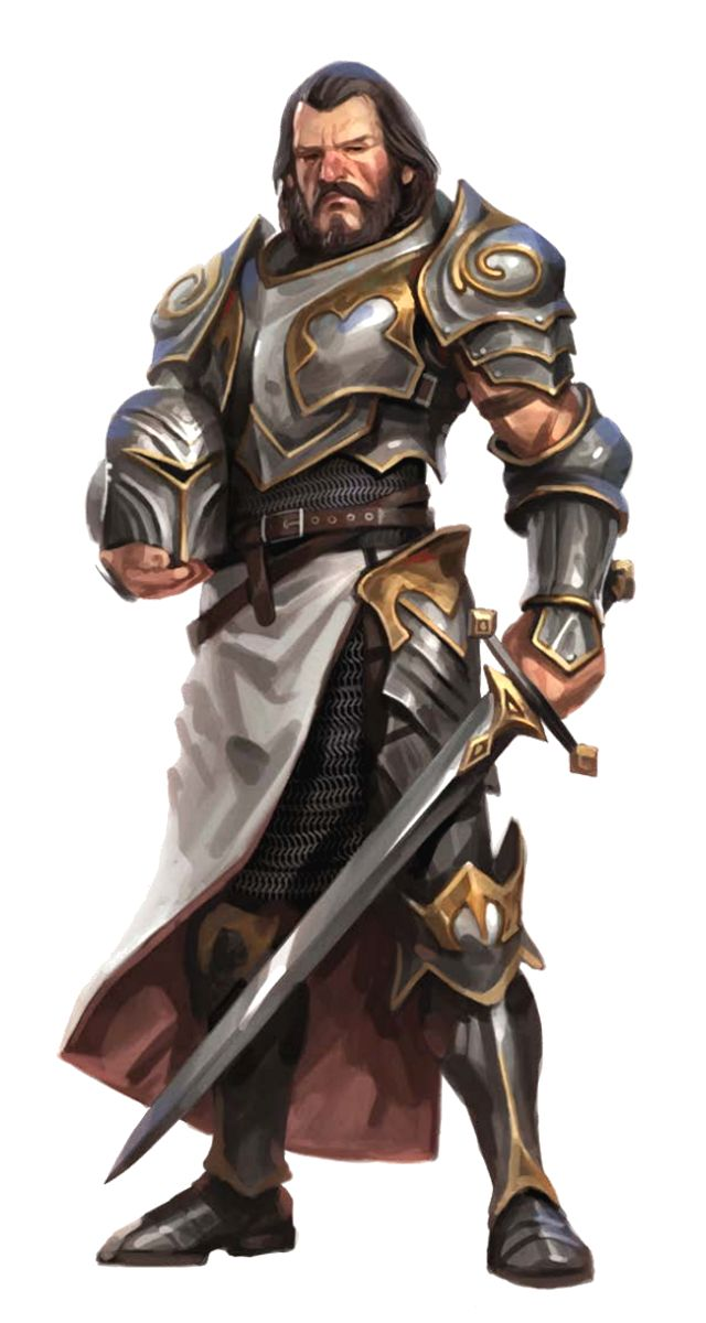 Male Human Fighter Warrior in Plate Armor - Pathfinder PFRPG DND D&D d20 fantasy