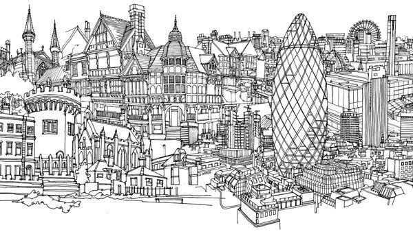 Cityscape murals by abigail daker via behance sketch for Cityscape mural