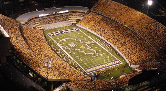 Night games in Morgantown....Gotta love it!