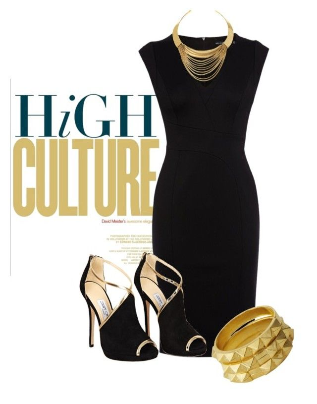 stunning dress by ria-kos on Polyvore featuring polyvore, fashion, style, Karen Millen, Jimmy Choo, Luv Aj, Diane Von Furstenberg and clothing