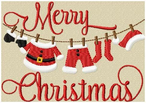 Machine Embroidery Design - Christmas Clothes Line