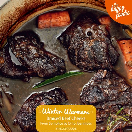 Braised Beef Cheeks cooked in Barolo wine from Italian Cookbook Semplice by Dino Joannides. The perfect recipe for weekend entertaining. http://thehappyfoodie.co.uk/recipes/braised-beef-cheeks-brasato-di-guanciale-di-manzo