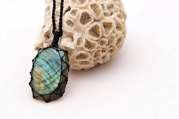 Labradorite necklace, Crystal pendant, Yoga jewelry, Healing crystal necklace, Natural jewelry, Guy necklace, Spiritual Man necklace pendant