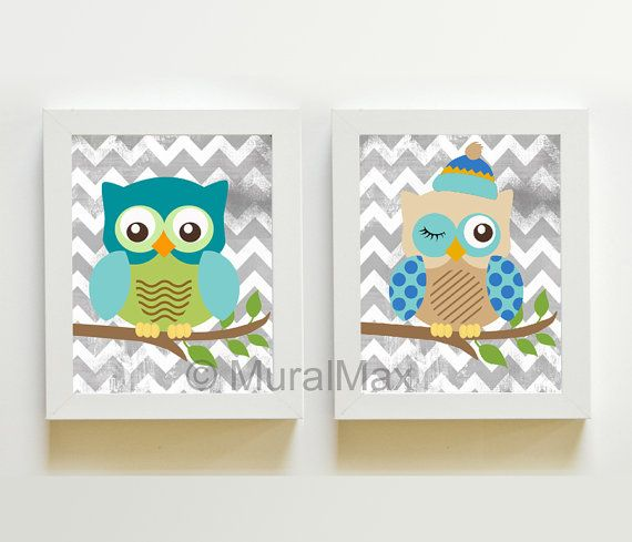 Owl Nursery Art Woodland Print for any childs room or nursery. FRAMES ARE NOT INCLUDED , FOR DISPLAY ONLY.    This is a set of 2 8 X 10 or 11 x 14