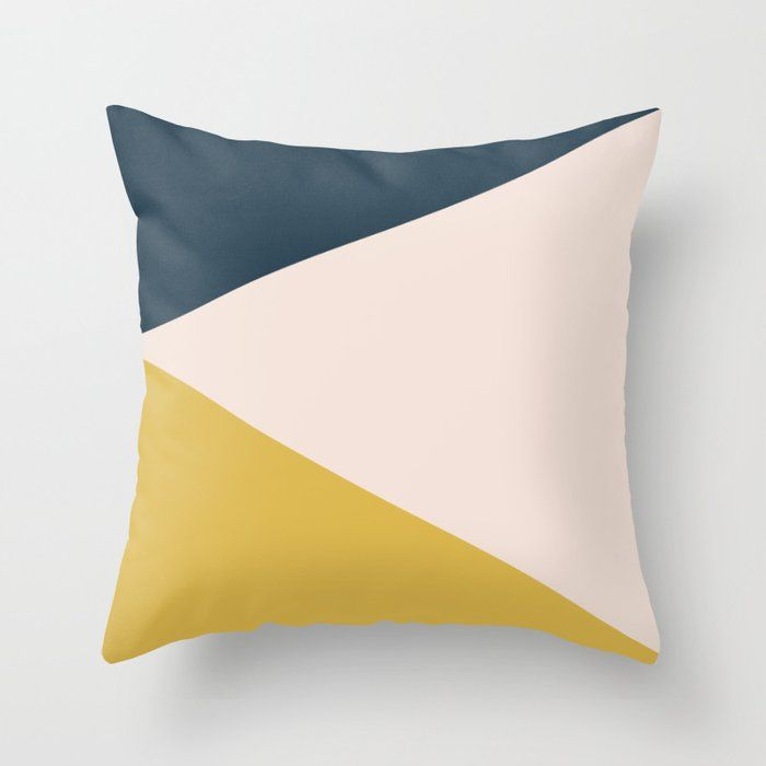 Jag Minimalist Geometric Color Block In Navy Blue Mustard Yellow And Pale Blush Pink Throw Pillow By Kierkegaart Blue Throw Pillows Throw Pillows Pillows