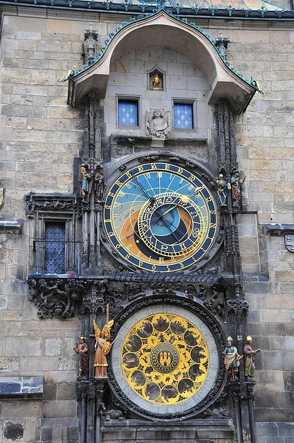 Clock in Prague. Is it just me or does that look a TEEEENY bit like circular gallifreyan??