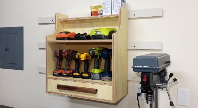 Free plans for a Cordless Drill Charging Center. This cabinet will hold all your cordless drills or other cordless tools, chargers, and accessories.