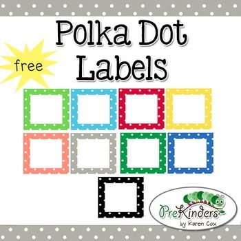 A set of free printable polka dot labels for your classroom. Labels come in 10 colors plus a set of bold black dots. Small commercial use on TPT okay -- please read my Terms of Use!