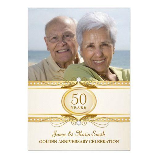 Golden 50th Wedding Anniversary Photo Invites