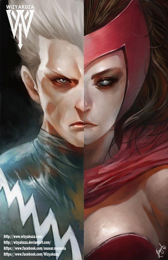 Bruja Escarlata y Quicksilver Split - los gemelos - Marvel: los Vengadores - impresión Digital de 11 x 17