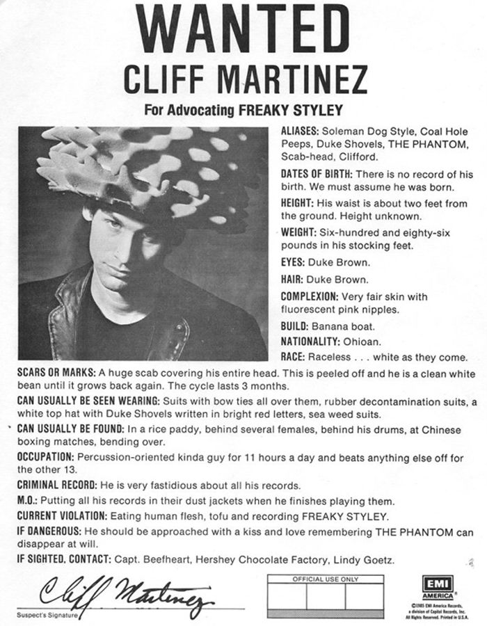 Cliff Martinez Red Hot Chili Peppers Freaky Styley Wanted Ad