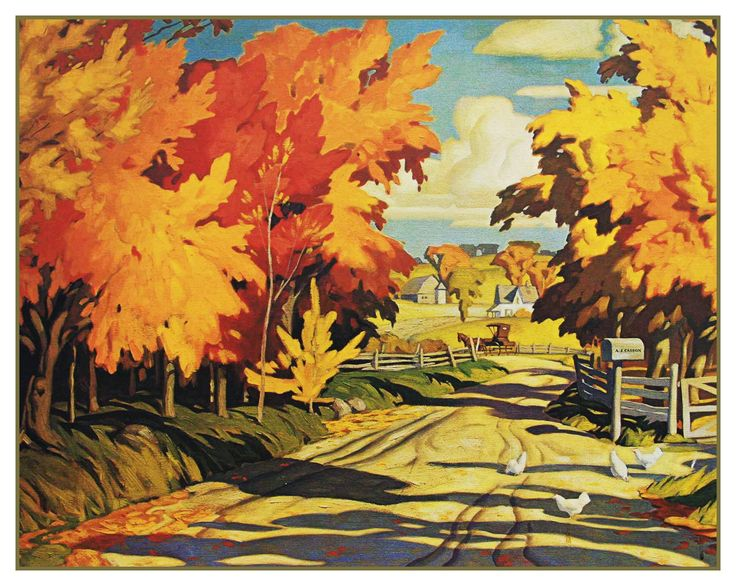 AJ Casson Country Road in Autumn Ontario Canada Landscape Counted Cross Stitch…