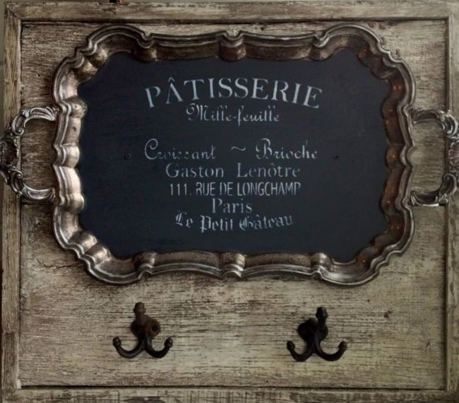 Reclaimed barn wood and an old tray. One way to repurpose a tarnished tray . . . is that chalkboard paint? Love this.