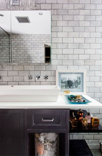 Tiger Lily's Greenwich, marble subway tile, bathroom