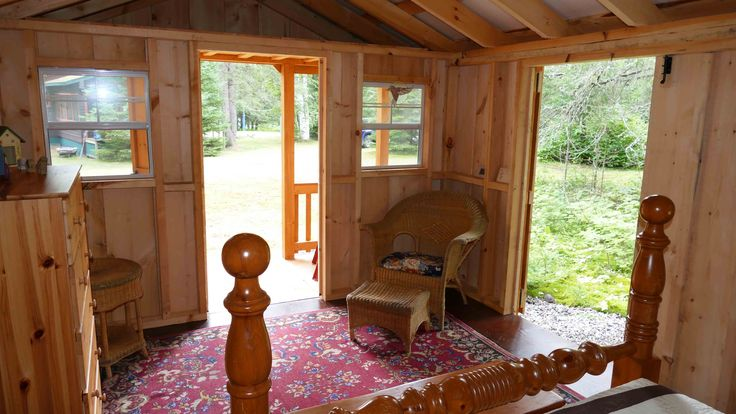 Another inside view of West Quebec Shed converted shed style building into a beautiful sleeping cabin.