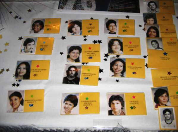 class reunion ideas | Name tags created from high school senior pictures.