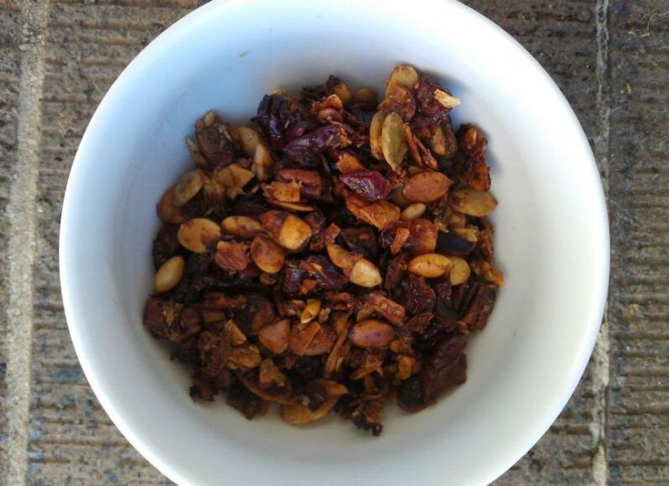 Paleo granola. No grain.  I would use agave, no honey or maple syrup.  Looks like it could be amazing with coconut milk.