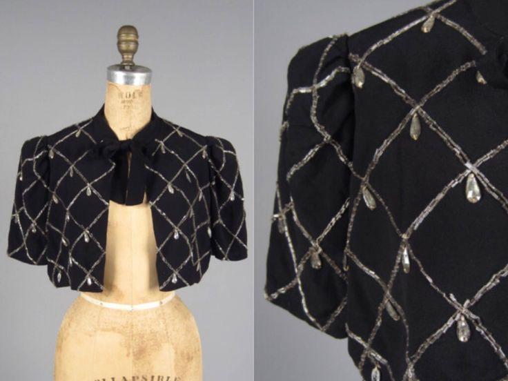 Vintage 1930s beaded bolero jacket // 30s jewelled crepe crop jacket by DuchesseVintage on Etsy https://www.etsy.com/ca/listing/471464088/vintage-1930s-beaded-bolero-jacket-30s